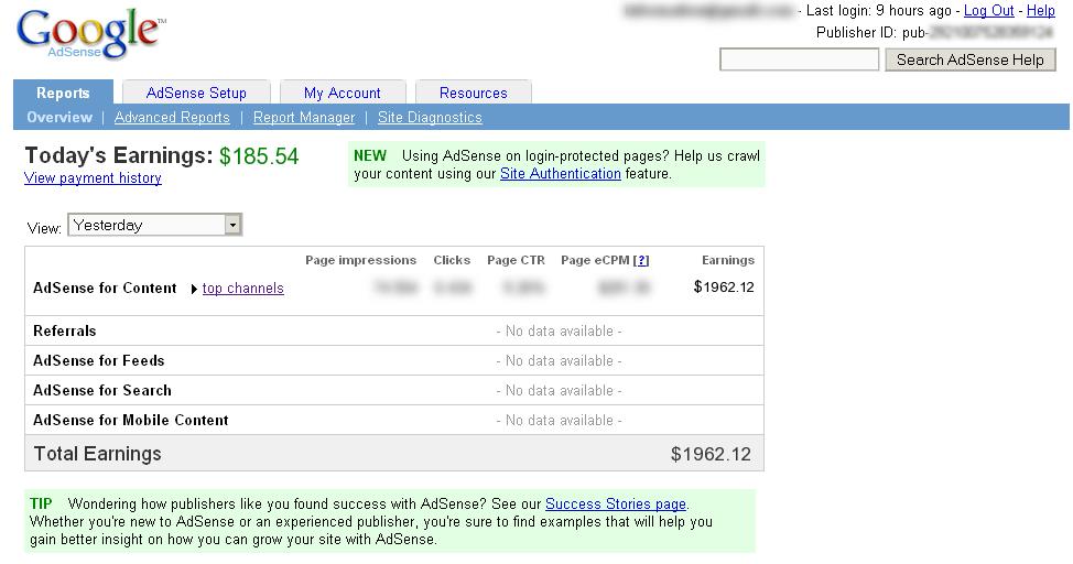 Como ganhei $1.962,12 em um só dia no Google Adsense