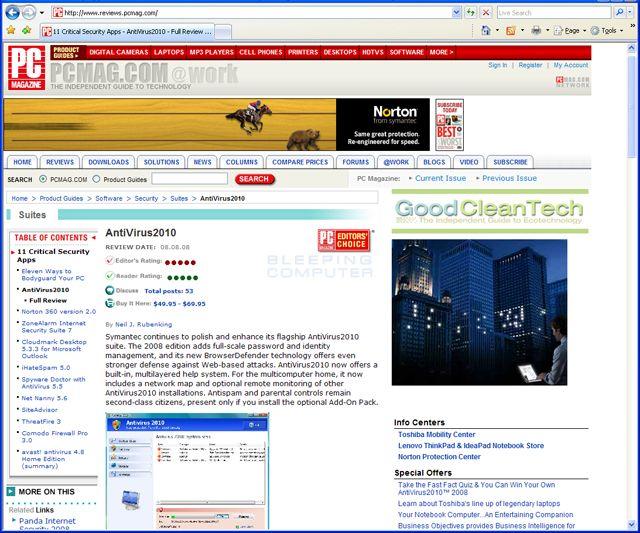 pagina falsa, golpe, antivirus