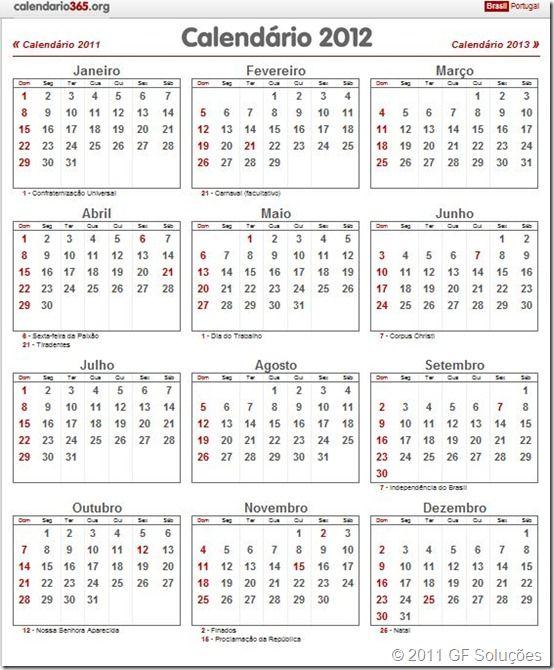 Calendário 2012 com feriados nacionais (Brasil)