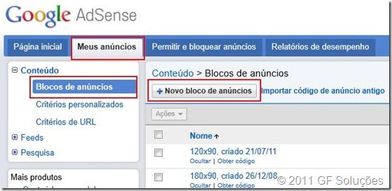 criar bloco de anuncios no google adsense - nova interface