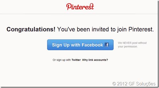 criar conta no Pinterest