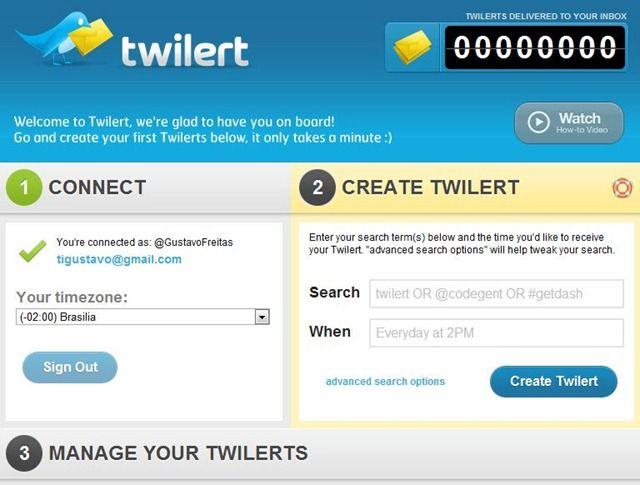 criar alertas no Twitter