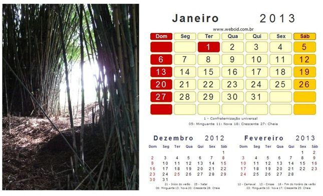 Calendário 2013 com feriados nacionais (Brasil) 2
