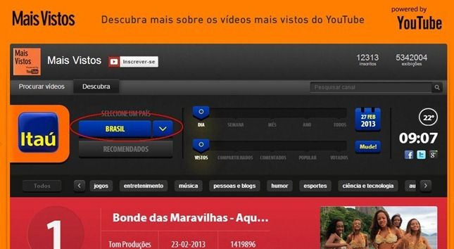 top vídeos no youtube