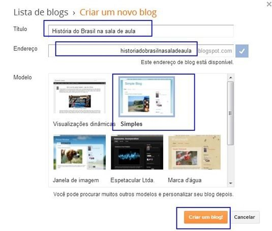 como criar um blog educação