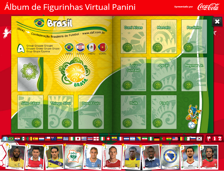 álbum de figurinhas virtual Panini copa do mundo 2014 Fifa 1
