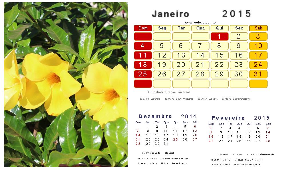 calendario 2015 com feriados nacionais