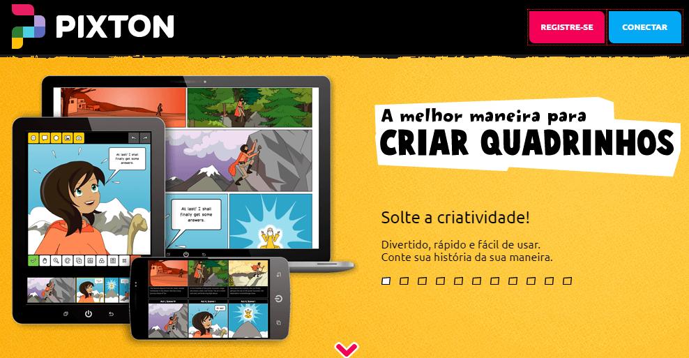 Criar histórias em quadrinhos com o Pixton gratuitamente