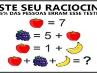 Teste de raciocínio lógico com frutas: 95% erram