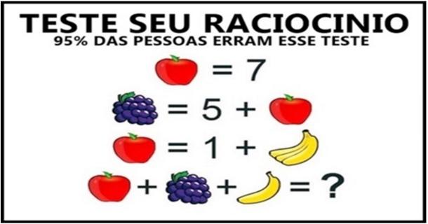 teste de raciocinio logico com frutas